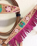 Z Tan headstall with Butterfly & Flowers and pink suede fringes - Western Tack Set