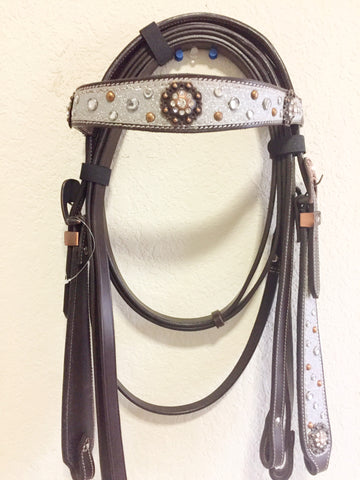 Gray and Black Western Headstall with beads, conchos and clip on the side