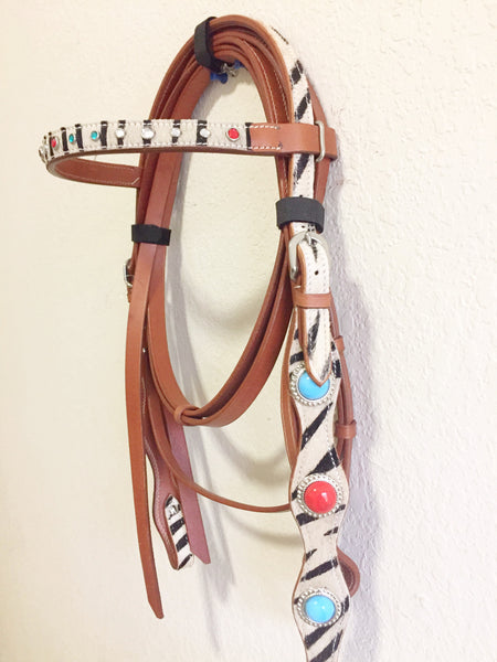 AA White Western Headstall with red and blue conchos and silver beads