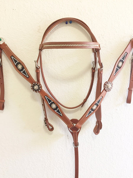 Z Navajo bead Brown Western Tack Set - headstall & breast collar