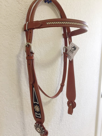 Beaded Brown Navajo Cowhide headstall