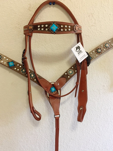 Z Brown Hairon bling Western Tack Set blue crystals & copper concho - Headstall & Breast Collar