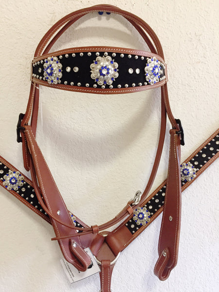 Black Suede, blue crystal concho & silver studs Western Tack Set - Headstall & Breast Collar