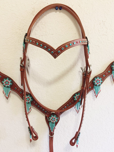 Beaded Western Tack Set with blue and red rhinestones - Headstall & Breast Collar Set