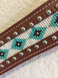 Western Tack Set with Teal native american bead work & buckle - Headstall & Breast Collar