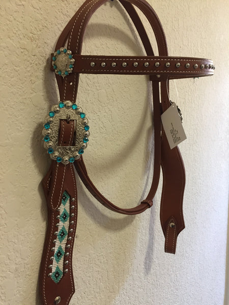 Western Headstall with Teal native american bead work & buckle