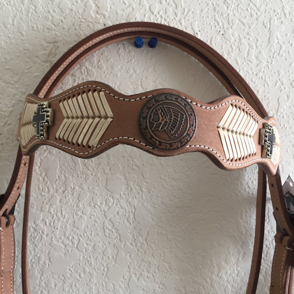 Tan Woven Western Headstall with medallion and cross sign- Western Bridle