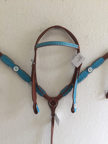 Teal Western Tack Set with white concho - Headstall & Breast Collar