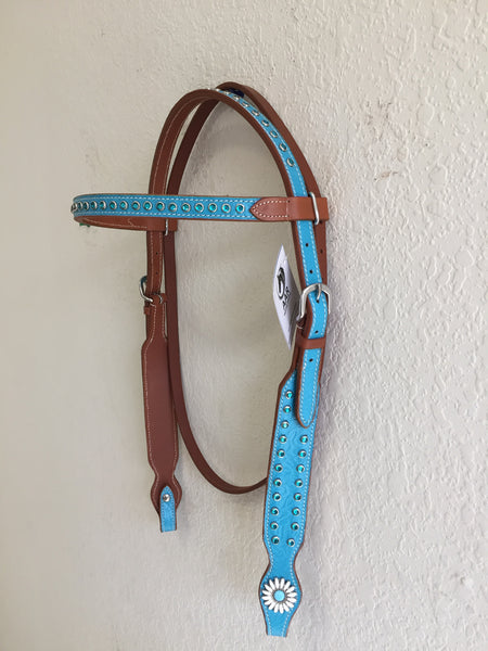 Teal Western headstall with white conchos