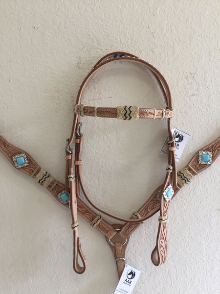 Rawhide Western Tack Set with marine blue concho - Headstall & Breast Collar