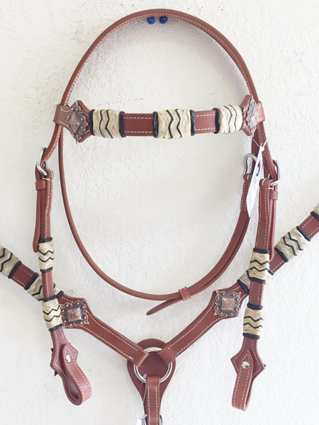 AA COMING SOON Rawhide western tack set with copper concho Headstall & Breast Collar
