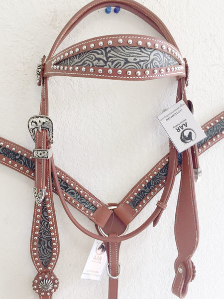 Z Olive Green and black western tack set with studs & concho - headstall and breast collar