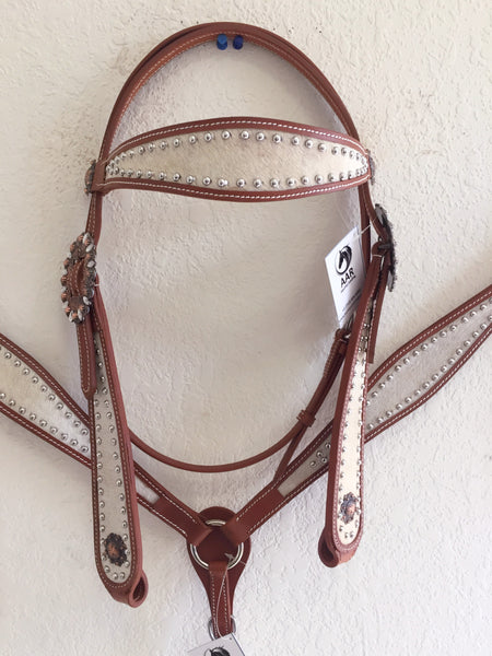 White Hairon Western Tack Set with copper concho Headstall & Breast Collar