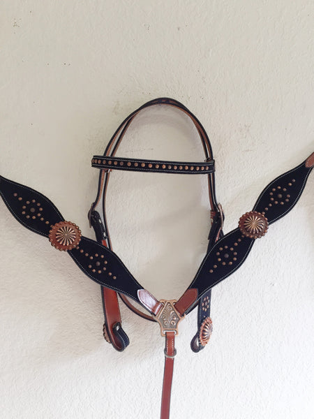 AA COMING SOON Western Tack Set with copper studs & concho on black suede inlay - Headstall & Breast Collar Set