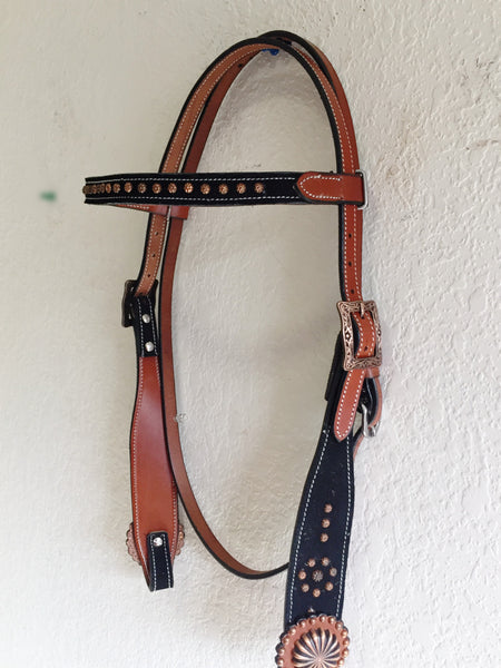 AAA Western Headstall with copper studs & concho on black suede inlay
