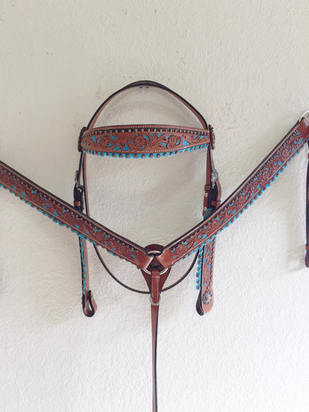 AAA Teal and Copper leather Western Tack Set with suede accents - Headstall & Breast Collar
