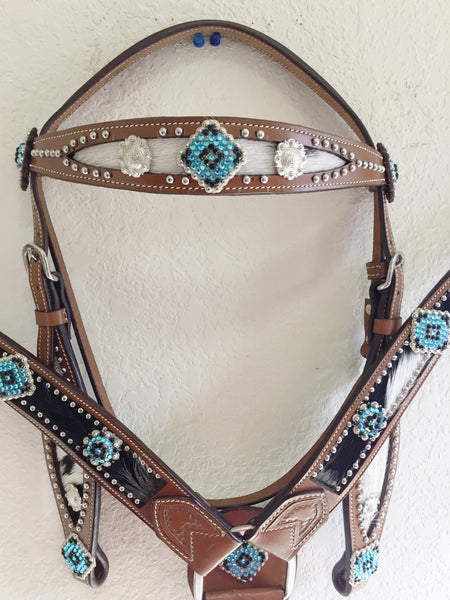 Z Bling Hairon Western Tack Set-Teal & black-Headstall & Breast Collar