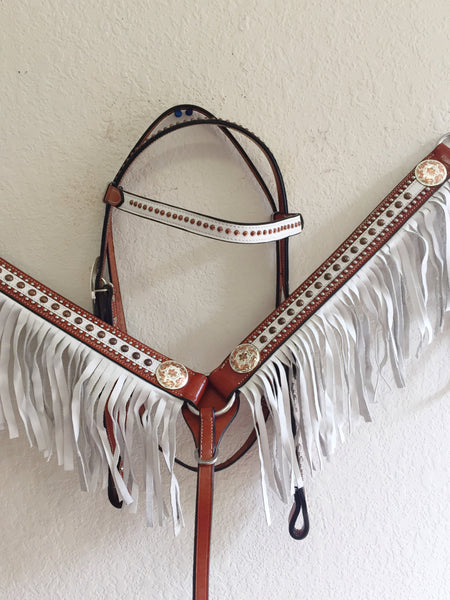 White Fringe Western Tack Set with copper buckle & studs - Headstall & Breast Collar Set