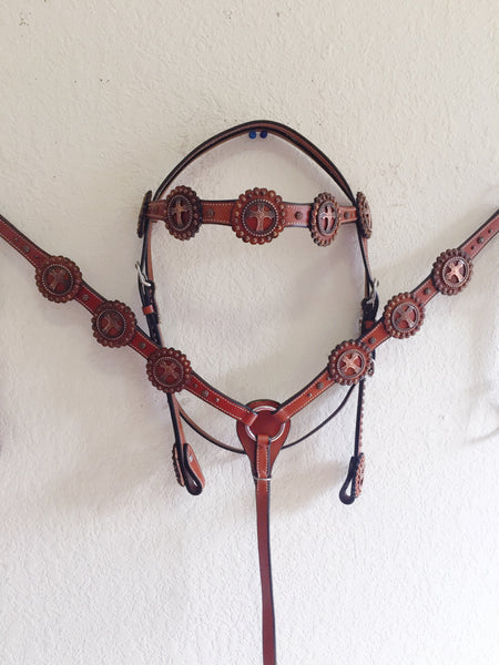 Z Dark oil Western Tack Set copper studs & cross concho - Headstall & Breast Collar Set
