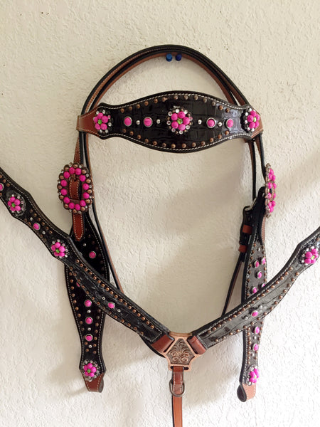 Z Gator Print Leather Western Tack Set, pink rhinestone conchos, buckle headstall & breast collar
