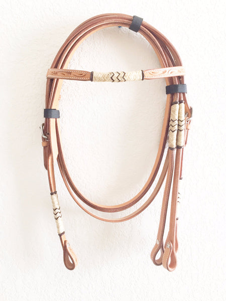 Rawhide and Wavy Jute Light Oil Western Headstall
