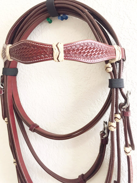 Woven Brown Basket Stitching Raw hide Western Headstall