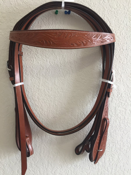 AA Brown Western Headstall with clips on the side