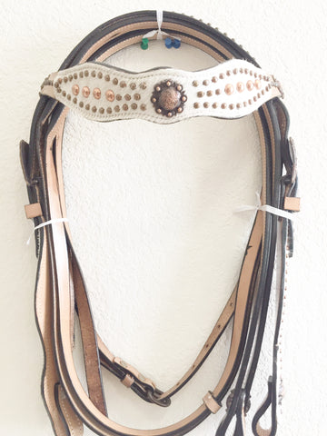 Caramel Tan & White Hairon Western Headstall with copper beads and conchos