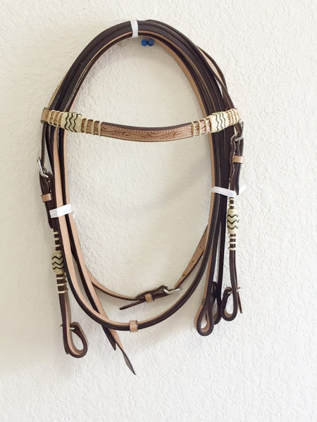 Raw hide trim Western Headstall light oil