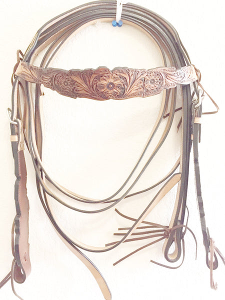 Mahogany Western Headstall with strings at browband and bits