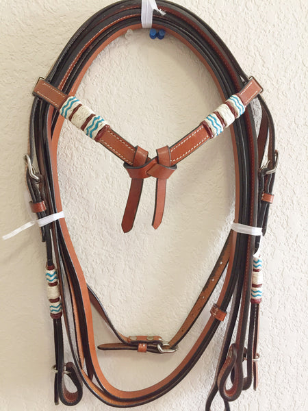 Turquoise on Brown Leather - Knotted and Braided Western Headstall