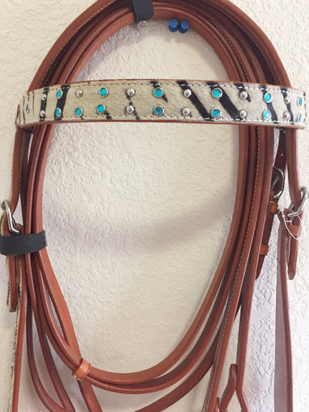 Zebra Imprint Western Headstall with Blue and Silver Beads