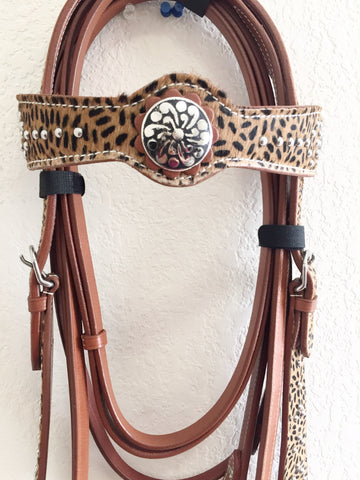 Cheetah Western Headstall with silver beads and conchos on heavy chestnut leather