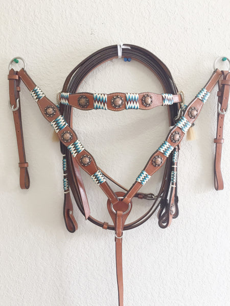 AA COMING SOON Turquoise Green Tack Set with copper conchos - Headstall & Breast Collar