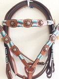 Turquoise Green Tack Set with copper conchos - Headstall & Breast Collar