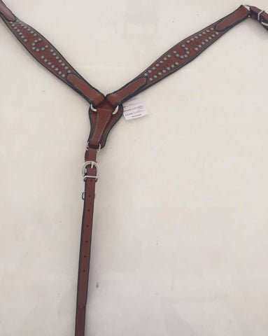 Brown Western Breast Collar with Turquoise beads