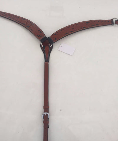 Brown Western Breast Collar with black inlay design