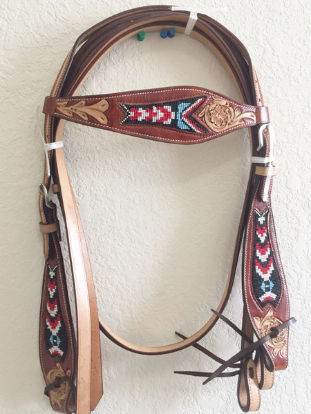Beaded Indian Black and Red Western Headstall with beads