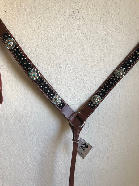 AAA Western Black breast collar with bling teal rhinestones and silver conchos