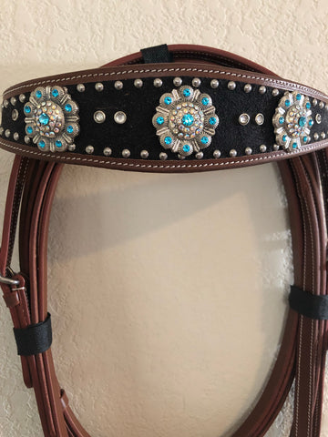 AAA Black Western headstall with bling teal rhinestones and silver conchos