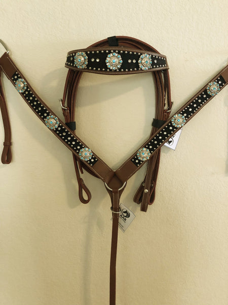 Black tack set with bling teal rhinestones and silver conchos