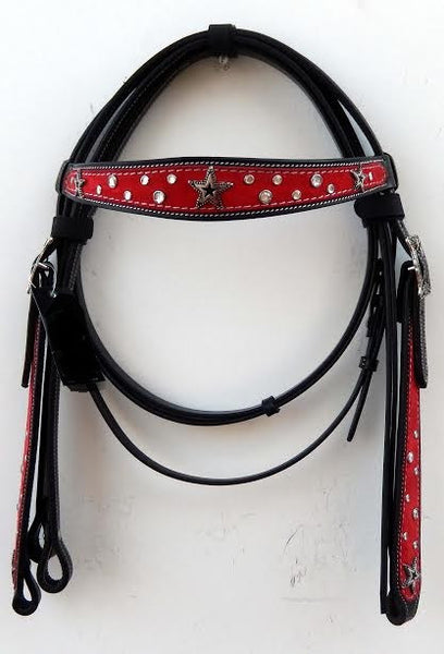 Red and Black Western Headstall with silver beads and a star concho on browband