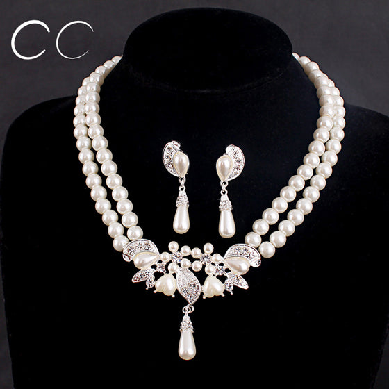 Luxury Pearl Necklace Jewelry Set