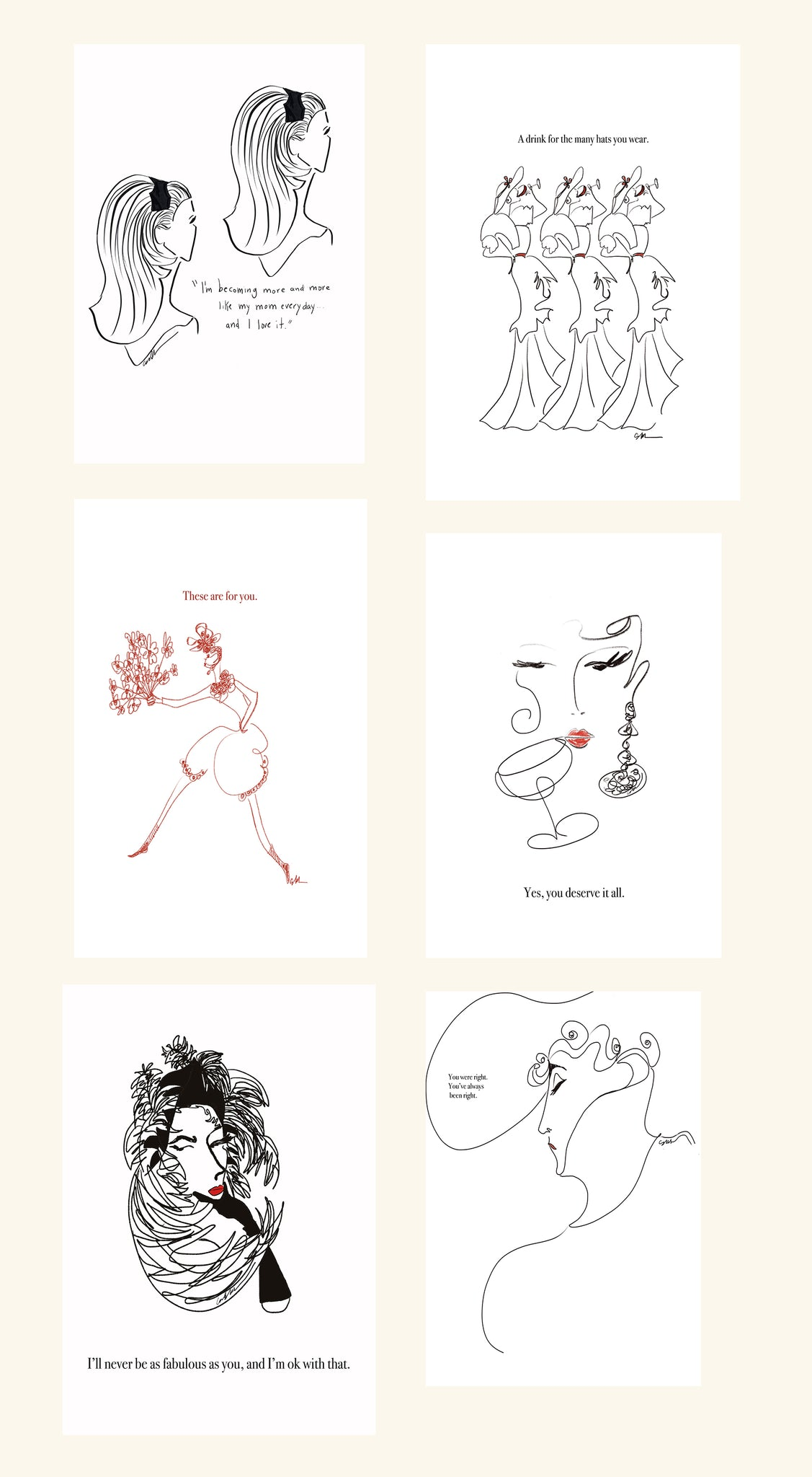 Cartorialist Mother's Day Downloadable/Printable Cards Set of 6