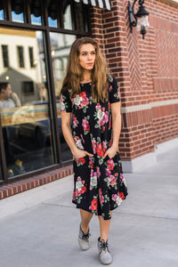 Black & Red Floral April Dress
