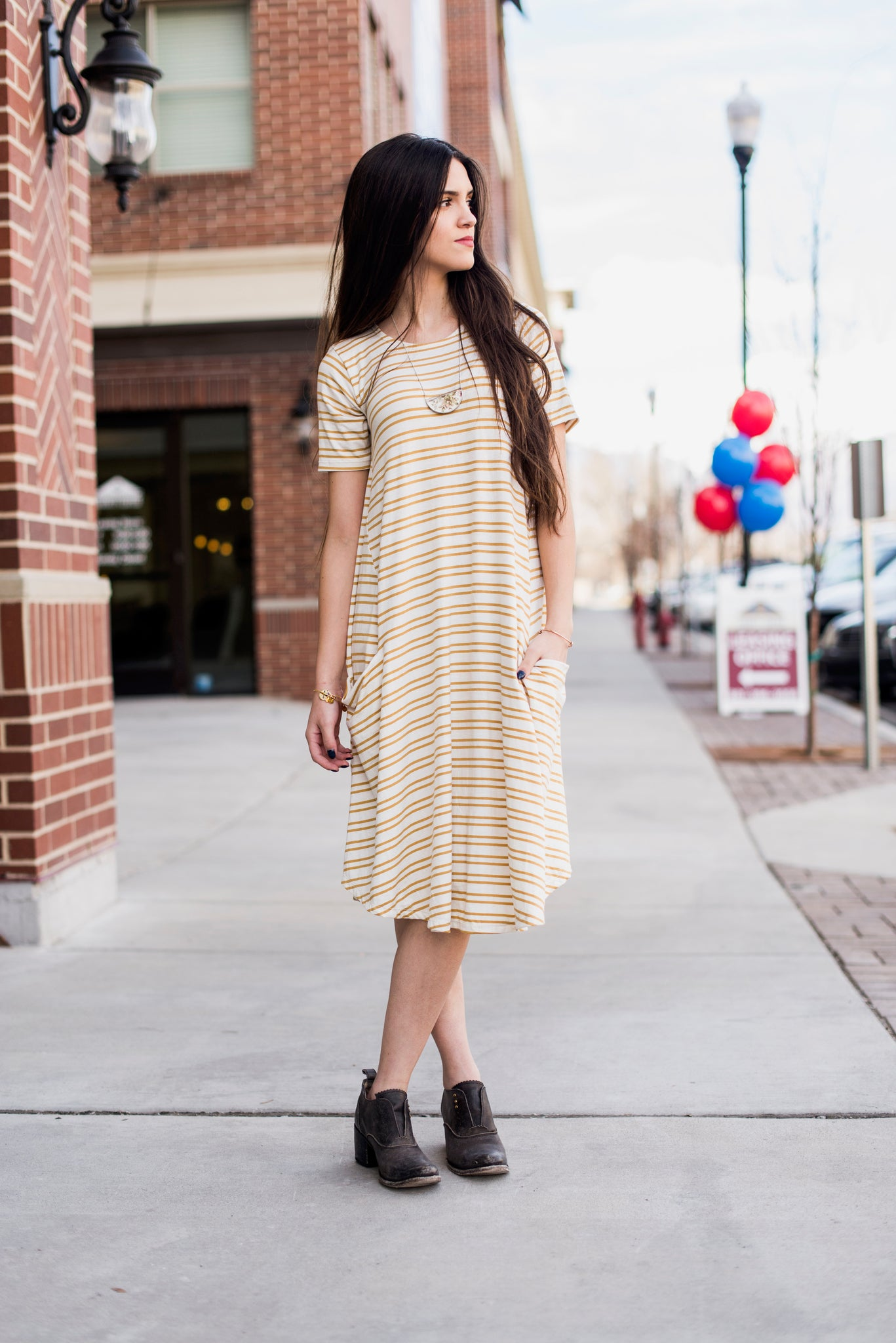 White & Mustard Stripe April Dress