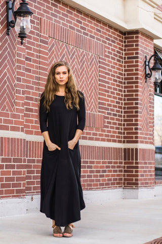 Black Ribbed Jessi Dress
