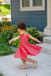 Coral & Black Stripe Girl Reese Twirl