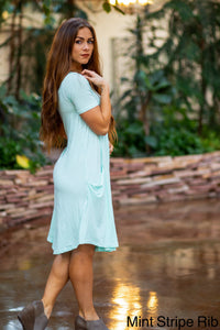 April Dress Mint Stripe Ribbed