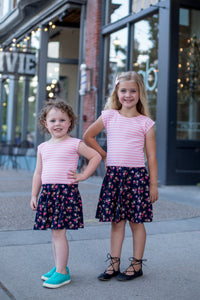 Pink Stripe & Navy Rose Girl Twirl Dress